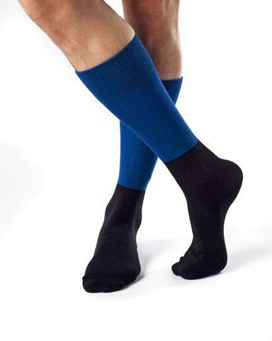 Billy- Combed Organic Cotton Bicolor Dress Socks by Zkano - $17.00
