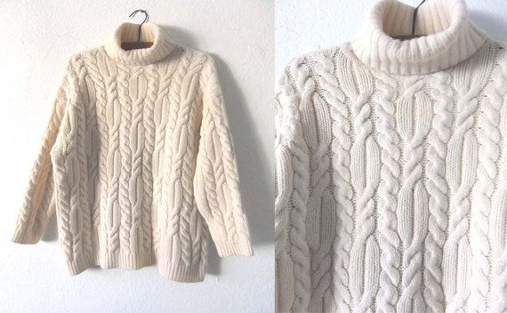 MENS Cream Cable Knit Jumper Best Size L by CottonThreadKillers ...
