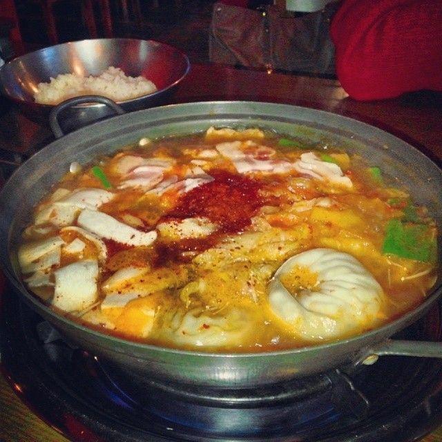 The beautiful sight of big bowl of Wang Mandu Stew #KoreanFood