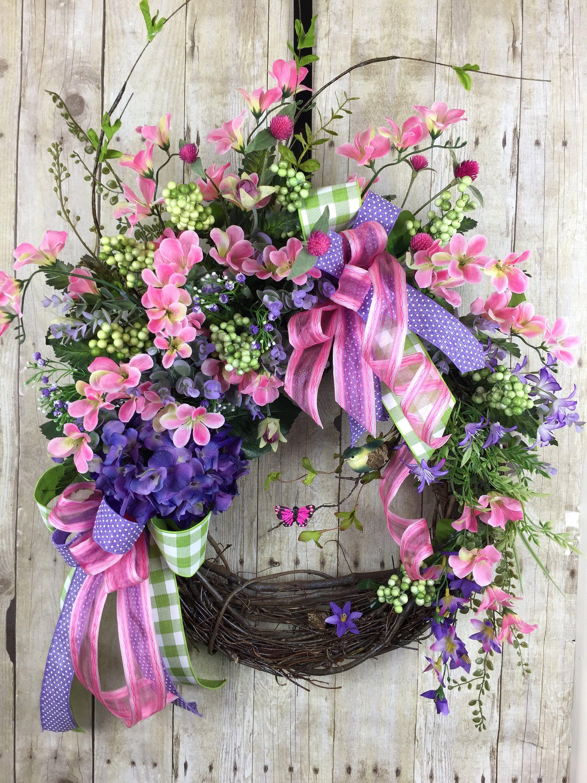 Spring Wreath for Front Door Garden Decor Easter Wreath Spring Door Decor Spring Floral Wreath Welcome Wreath Mothers Day Gift