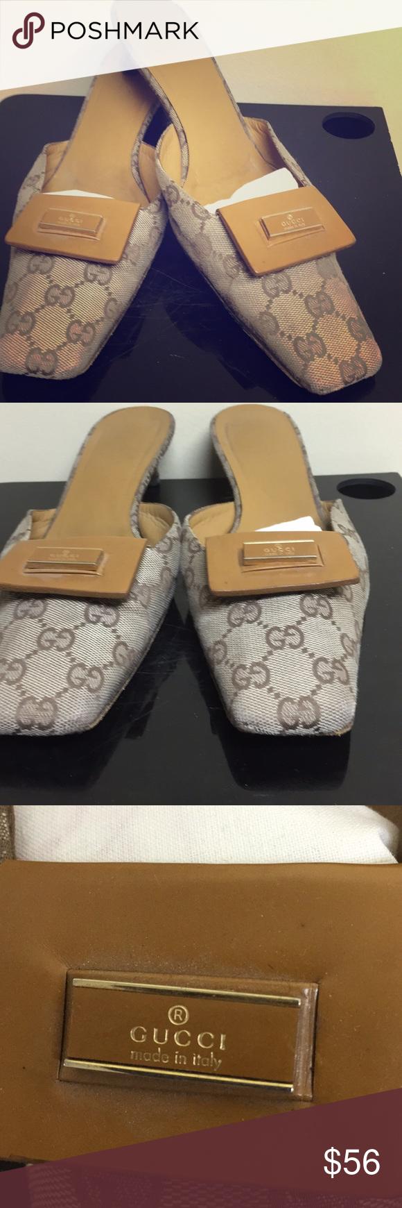 Women's Vintage Gucci Mule shoes tan