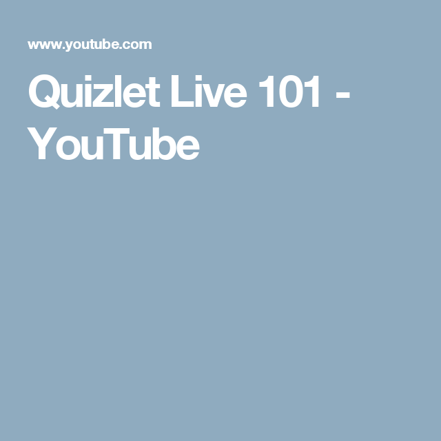 Quizlet Live 101 - YouTube | Teaching strategies, Teaching ...