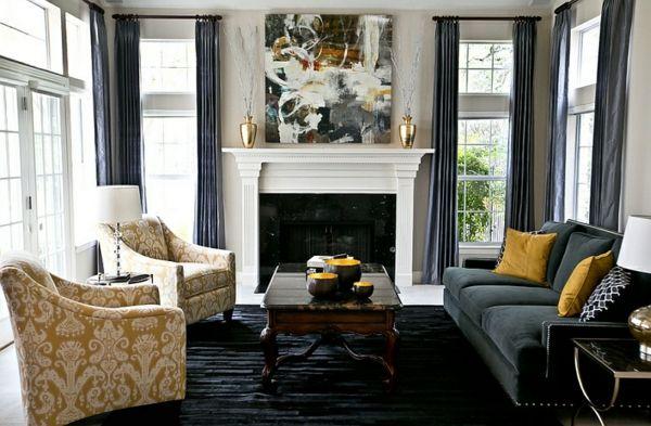 Wohnzimmer Farbgestaltung U2013 Grau Und Gelb   Wohnzimmer Farbgestaltung Grau  Gelb Kamin