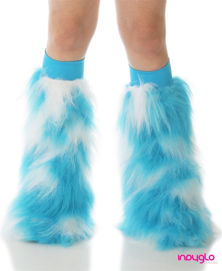 Fluffy Leg Warmers Furry Boot Covers Faux Fur Turquoise and White Fluffies Turquoise Kneebands Turquoise and White Rave Fluffies