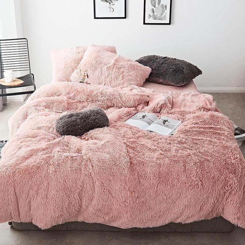 Pink White Fleece Fabric Winter Thick 20 Pure Color Bedding Set Mink Velvet Duvet Cover Bed Sheet Bed Line Bed Linen Sets Velvet Bedding Sets Bed Linens Luxury