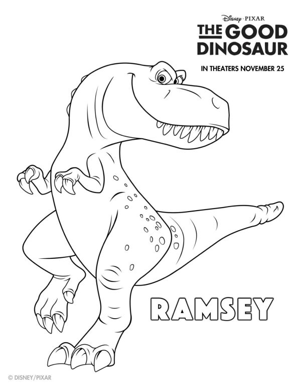 Disney The Good Dinosaur Free Printable Ramsey Coloring Page Mama Likes This Fargelegging Dinosaurer Skole