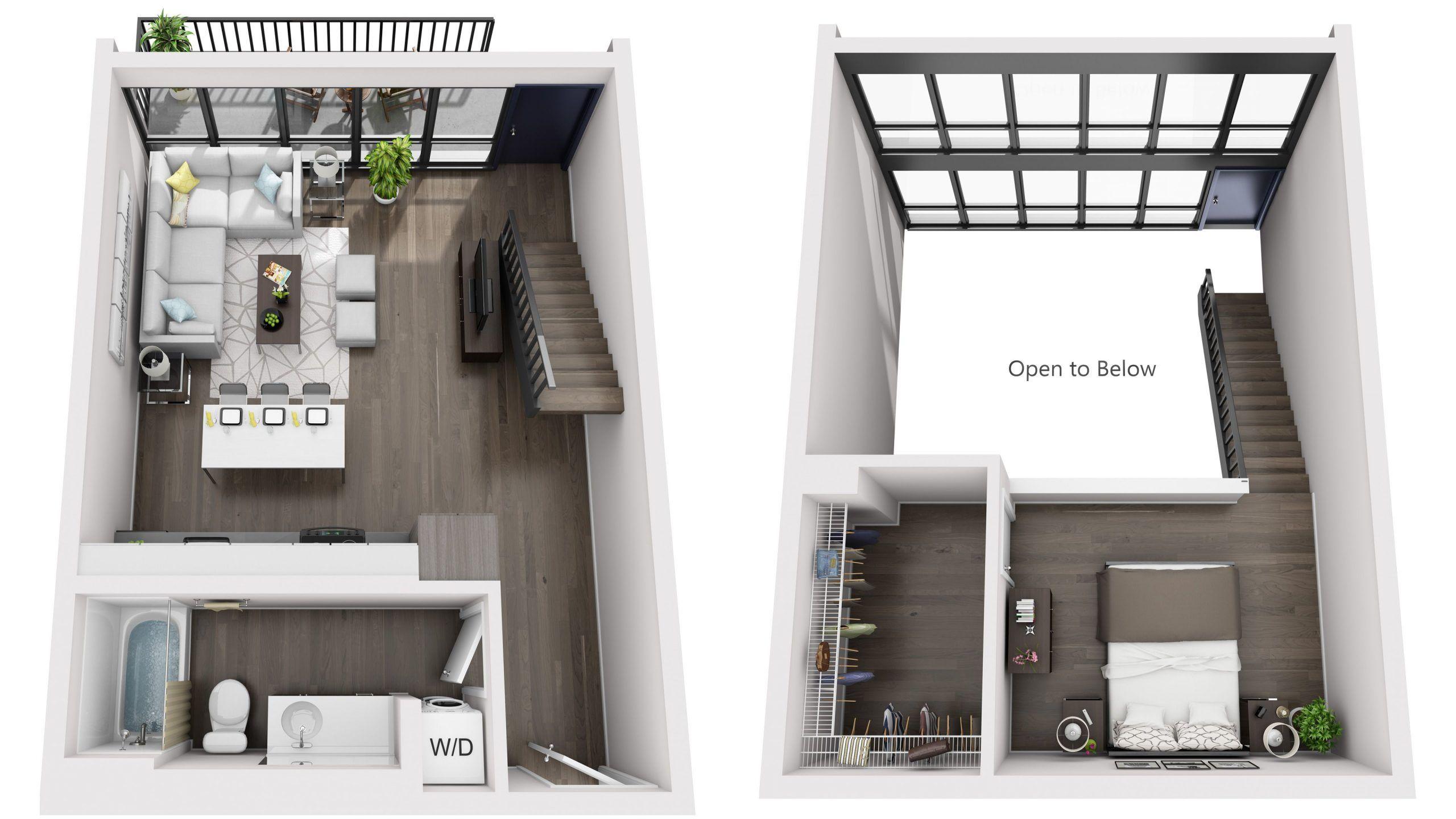 Standard 3D Floor Plans in 2020   Apartment floor plans ...