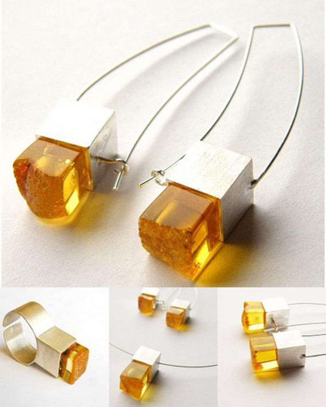 Baltic amber earrings chain with pendant and ring set matte