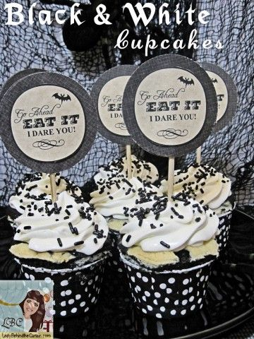 Lady Behind The Curtain - Black & White Cupcakes