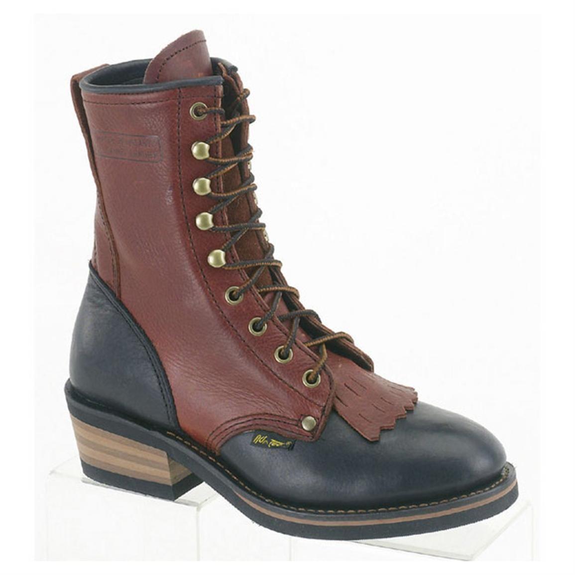 Women's 8 inch Ad Tec® Western Packer Boots, Black / Dark Cherry