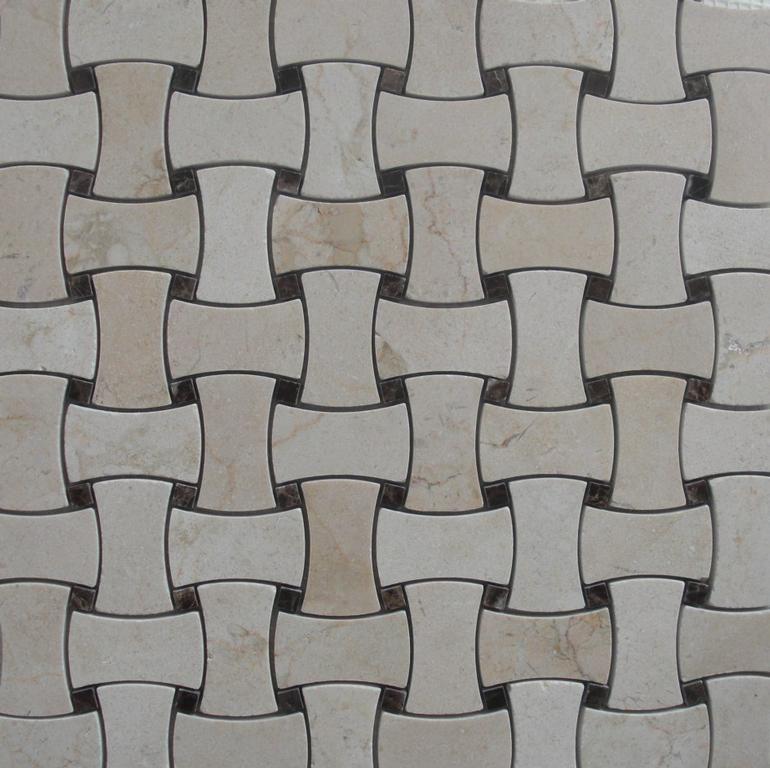 Dog Bone Basket Weave Marble Mosaic Tile Crema Marfil W Dark Emperador Brown Dot Provided By Clic Inc Brooklyn 11214