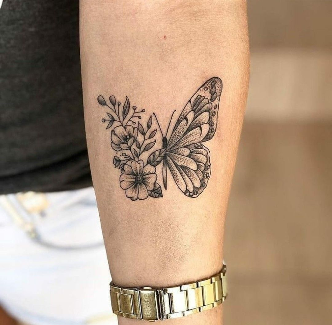 Floral And Butterfly Tattoo Design Tattoos Small Tattoo Designs Unique Tattoos