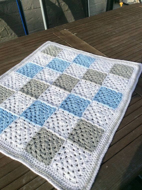 Items similar to Crochet baby boy granny square blanket gingham ...