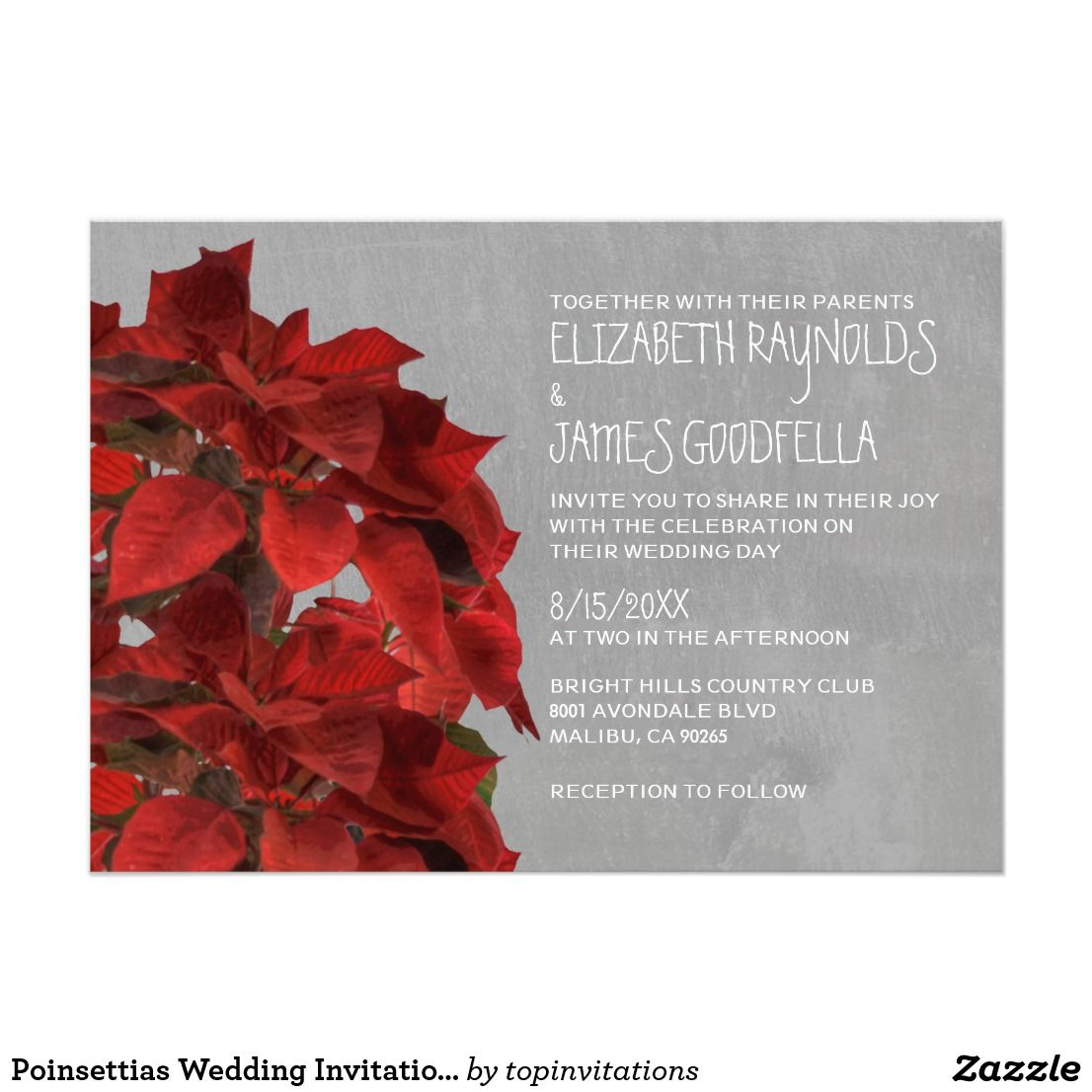 Poinsettias Wedding Invitations | Favors, Wedding and Weddings