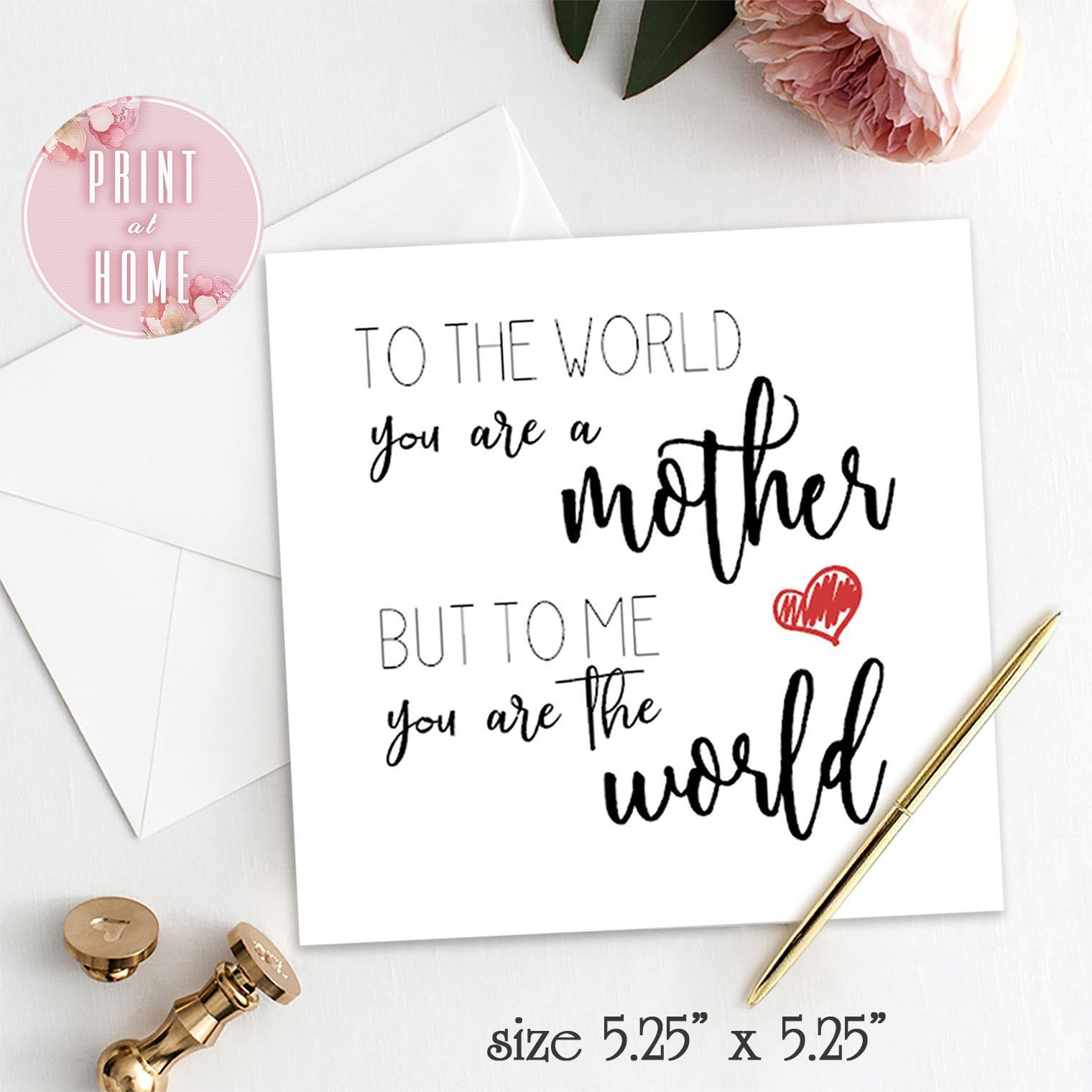Printable Card For Mom Birthday From Daughter To Mother From Son To Mother Diy Birthday Cards For Mom Diy Birthday Gifts For Mom Birthday Cards For Mother