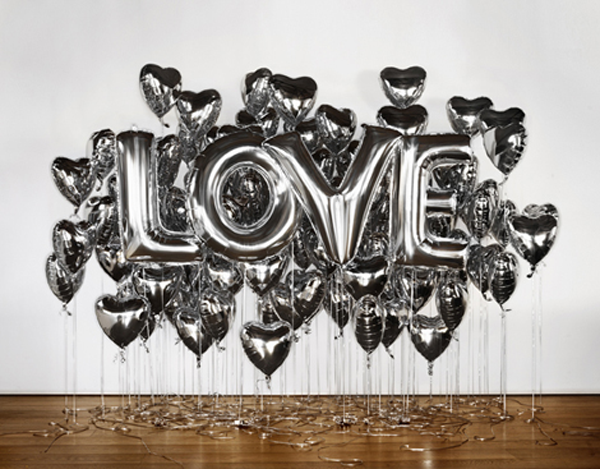 metallic silver letter and heart shaped balloons