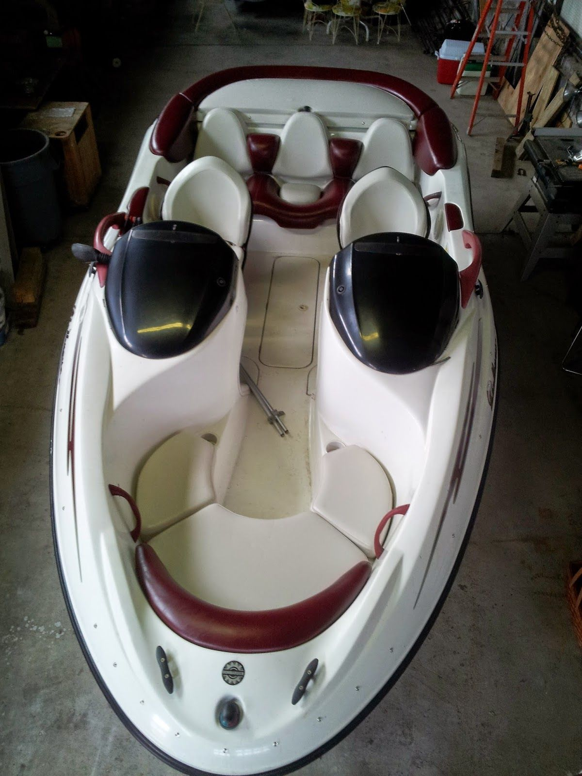 Homestyle Custom Upholstery And Awning Custom Jet Boat Interior And Maroon Cover Jet Boats Boat Interior Boat Upholstery