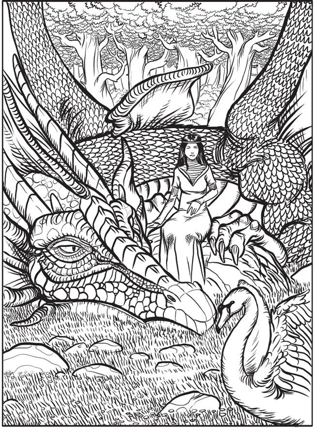welcome to dover publications from creative haven fantastical dragons coloring book - Challenging Dragon Coloring Pages