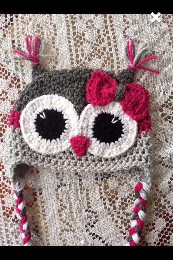 Adult Grey and magenta owl hat | Gorros, Ojos y Tejido