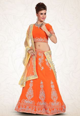 Orange Art Silk Lehenga Choli with Dupatta Ngozi Style Pinterest