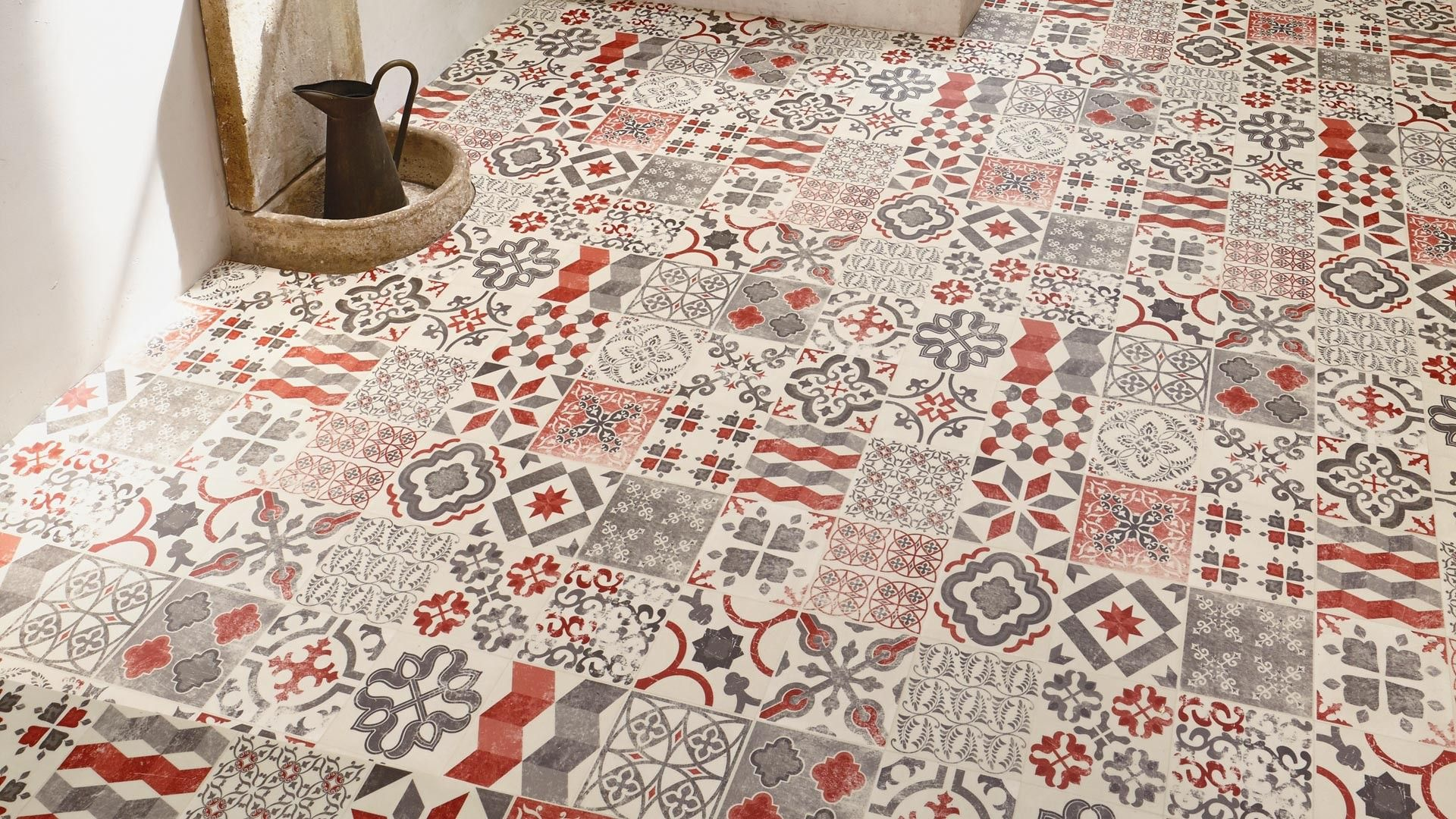 sol vinyle exclusive 240 almeria red ce carreaudeciment au style portugais tiles pinterest. Black Bedroom Furniture Sets. Home Design Ideas