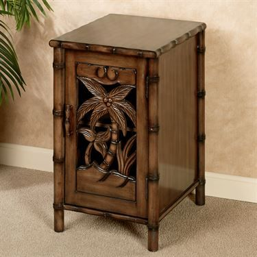 Tropical Chairside Table Storage Cabinet