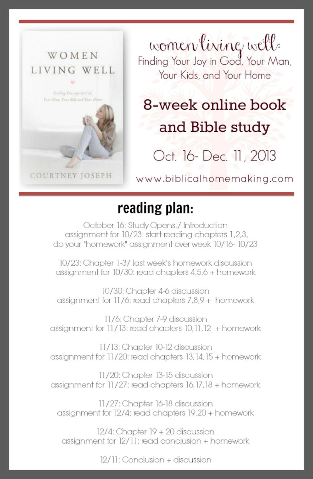 Biblical Homemaking Women Living Well Fb Online Study