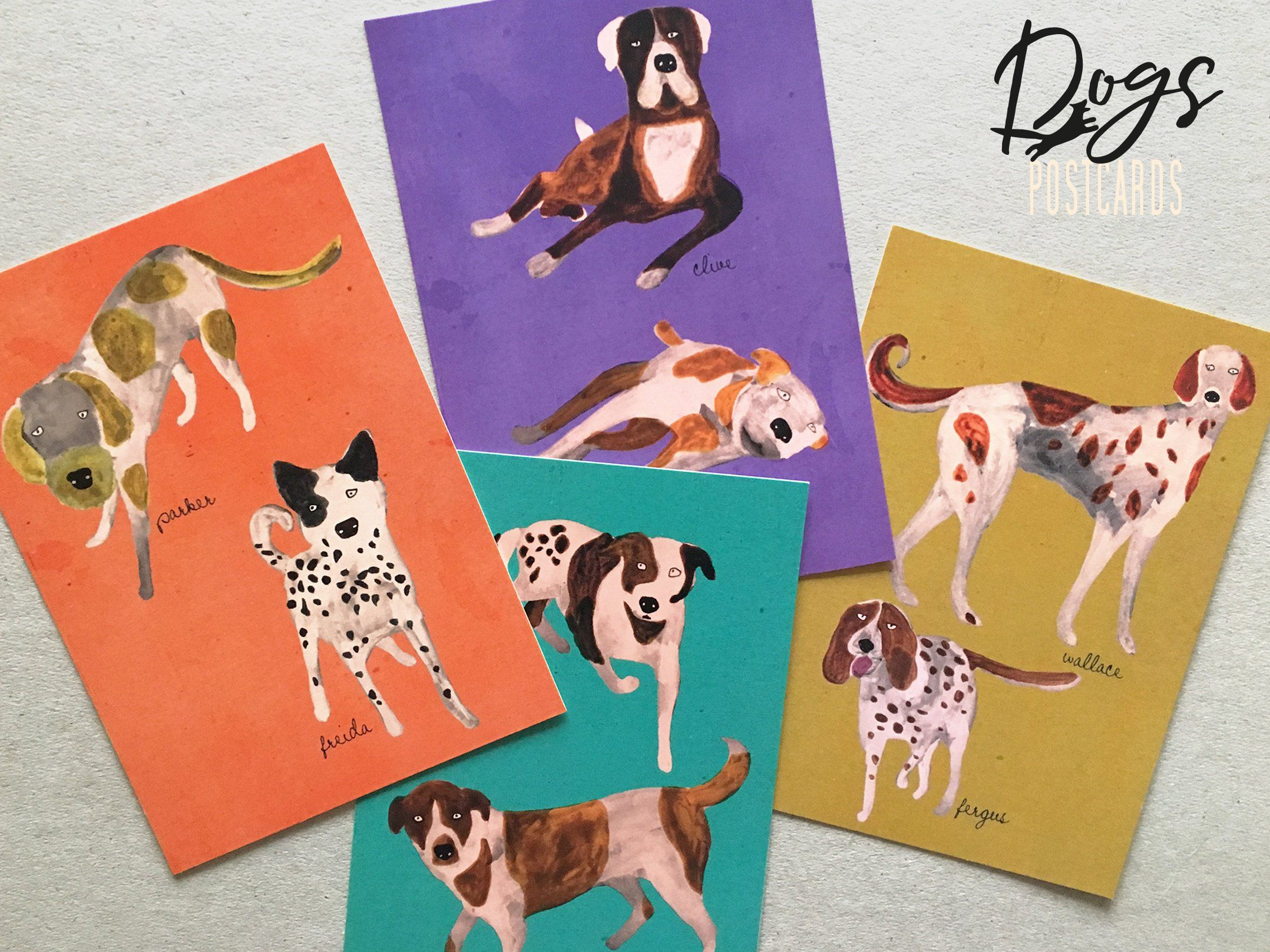 Dogs illustrated A6 postcard