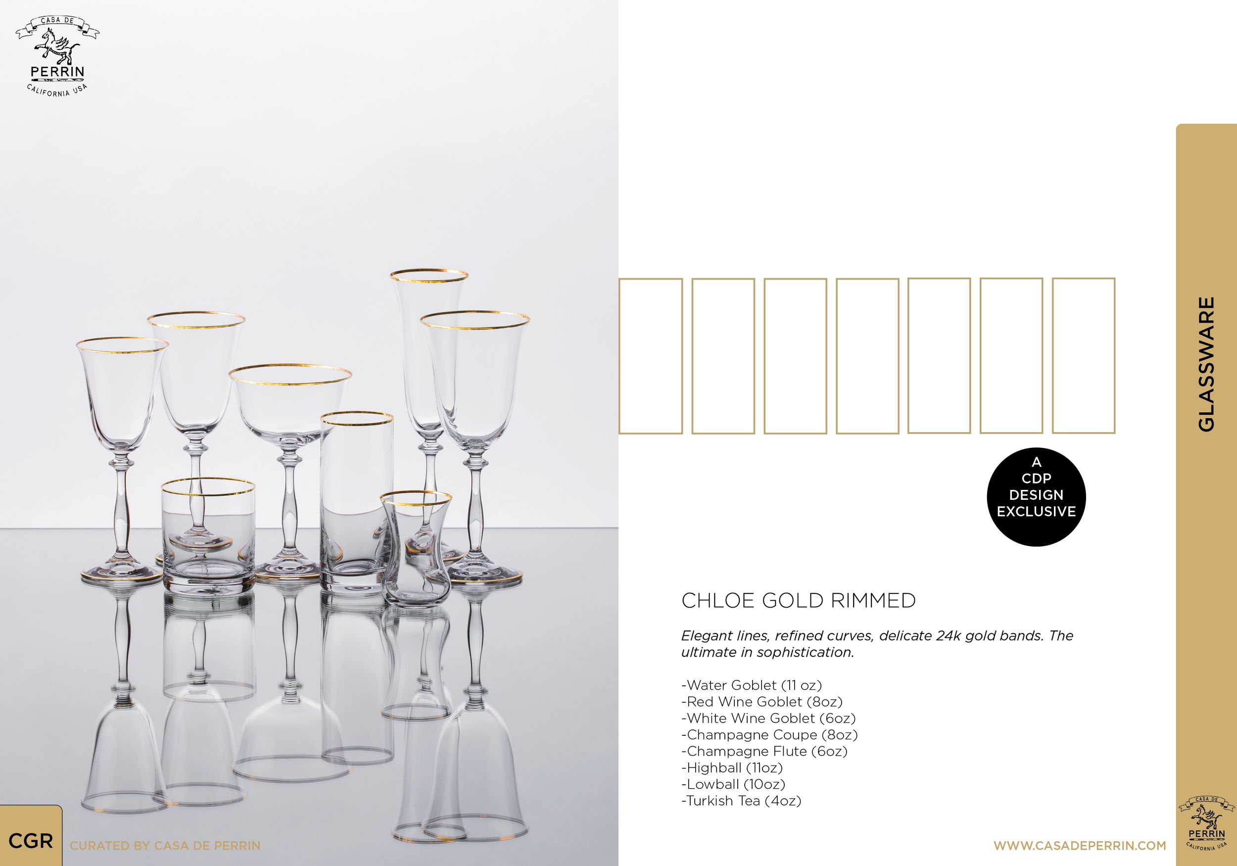 Chloe Gold Rimmed / Glassware