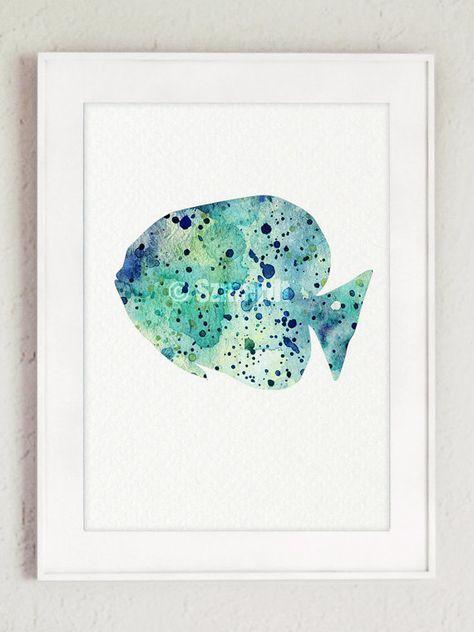 Fische Aquarell Set 2 Blaue Fisch Silhouette Von Silhouetown