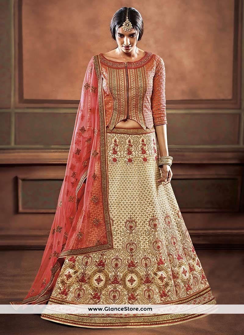 Ravishing art silk resham work lehenga choli bridal wear saree