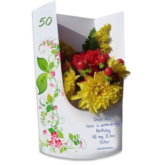 50th birthday bella flora flowercard a traditional card