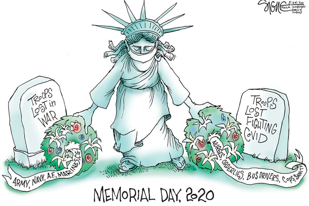 Editorial cartoons for Monday, May 25, Memorial Day