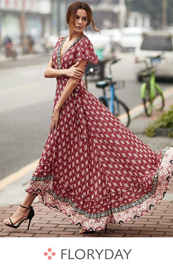 Robe longue porte feuille floryday
