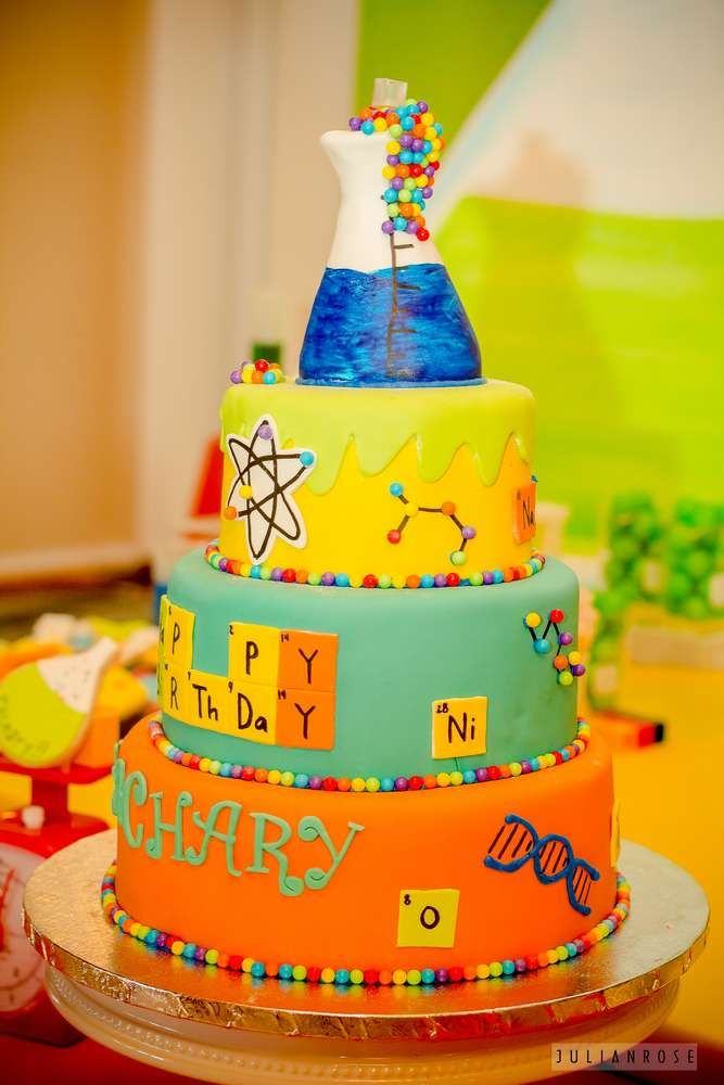 Remarkable Science Birthday Party Ideas With Images Science Cake Science Funny Birthday Cards Online Elaedamsfinfo