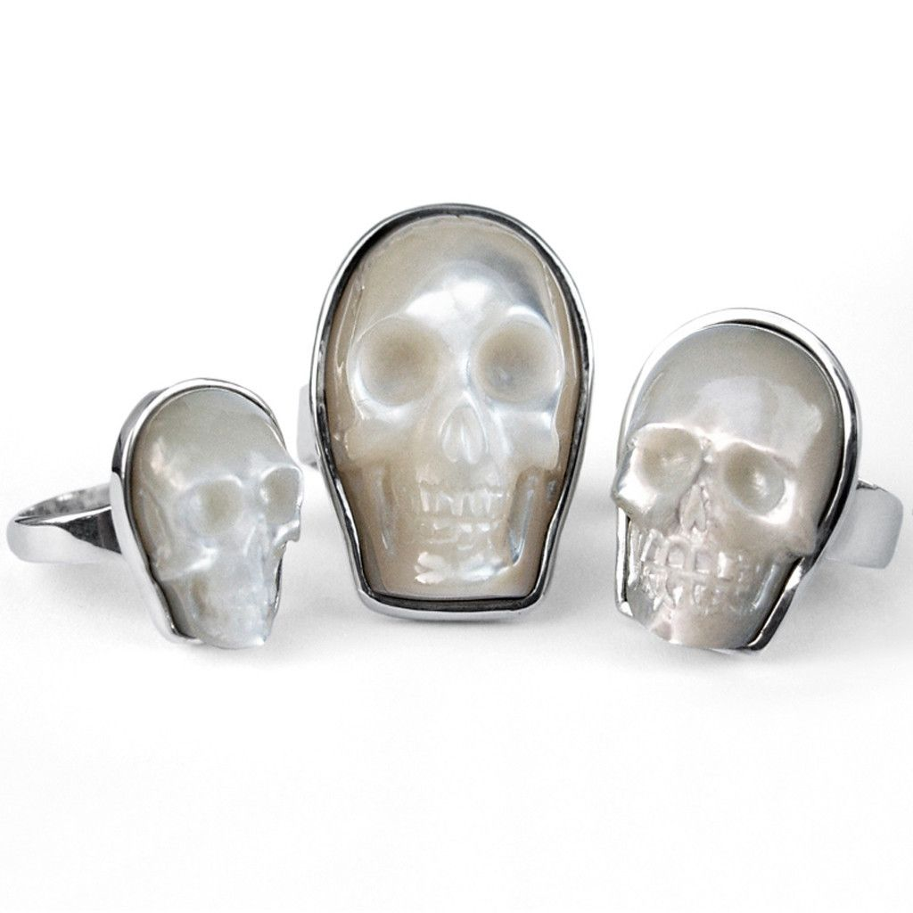 Mother of Pearl Skull Rings | Nick von K