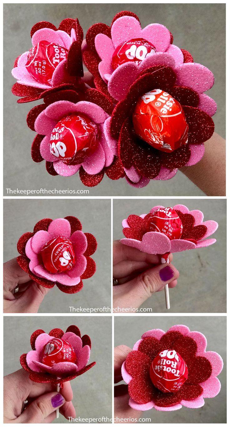 Flower Heart Valentine Suckers Kitchen Diy Valentines