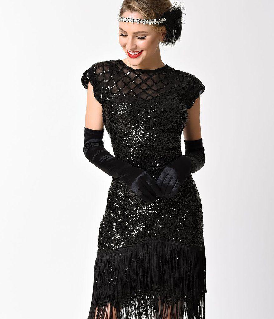 2b31e6b640a Unique Vintage 1920s Black Sequin Fringe Del Mar Flapper Dress ...