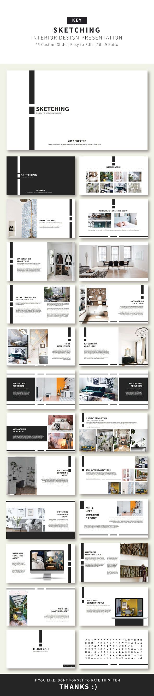 sketching presentation keynote template business keynote templates dise o pinterest. Black Bedroom Furniture Sets. Home Design Ideas