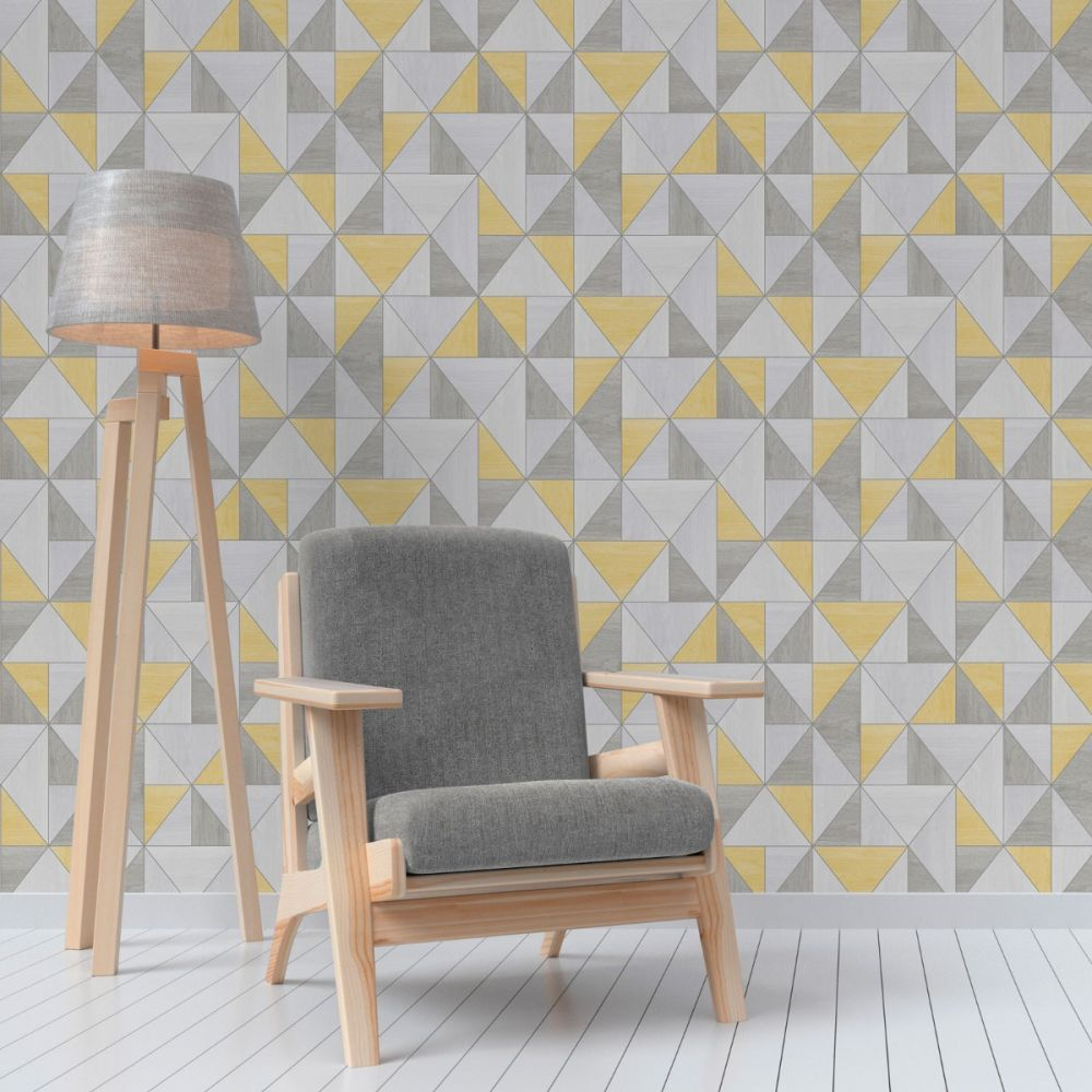 Apex Wood Grain Geometric Wallpaper Yellow And Grey Fea
