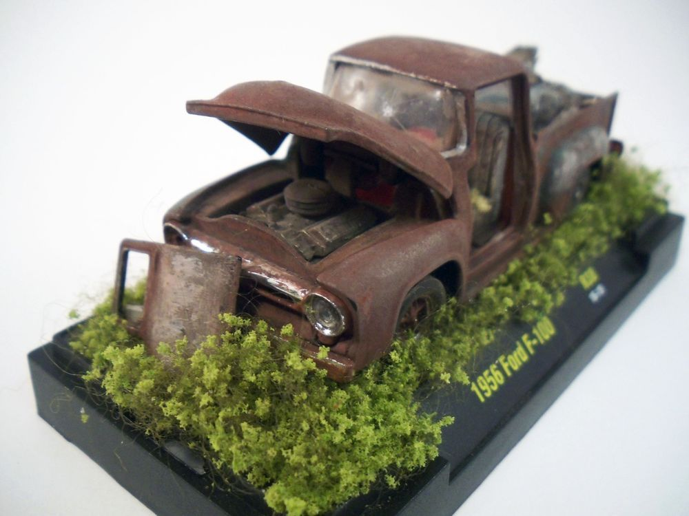 1956 Ford F 100 Pickup Truck Custom Weathered Barn Find Rat Rod 1 64 Diorama M2