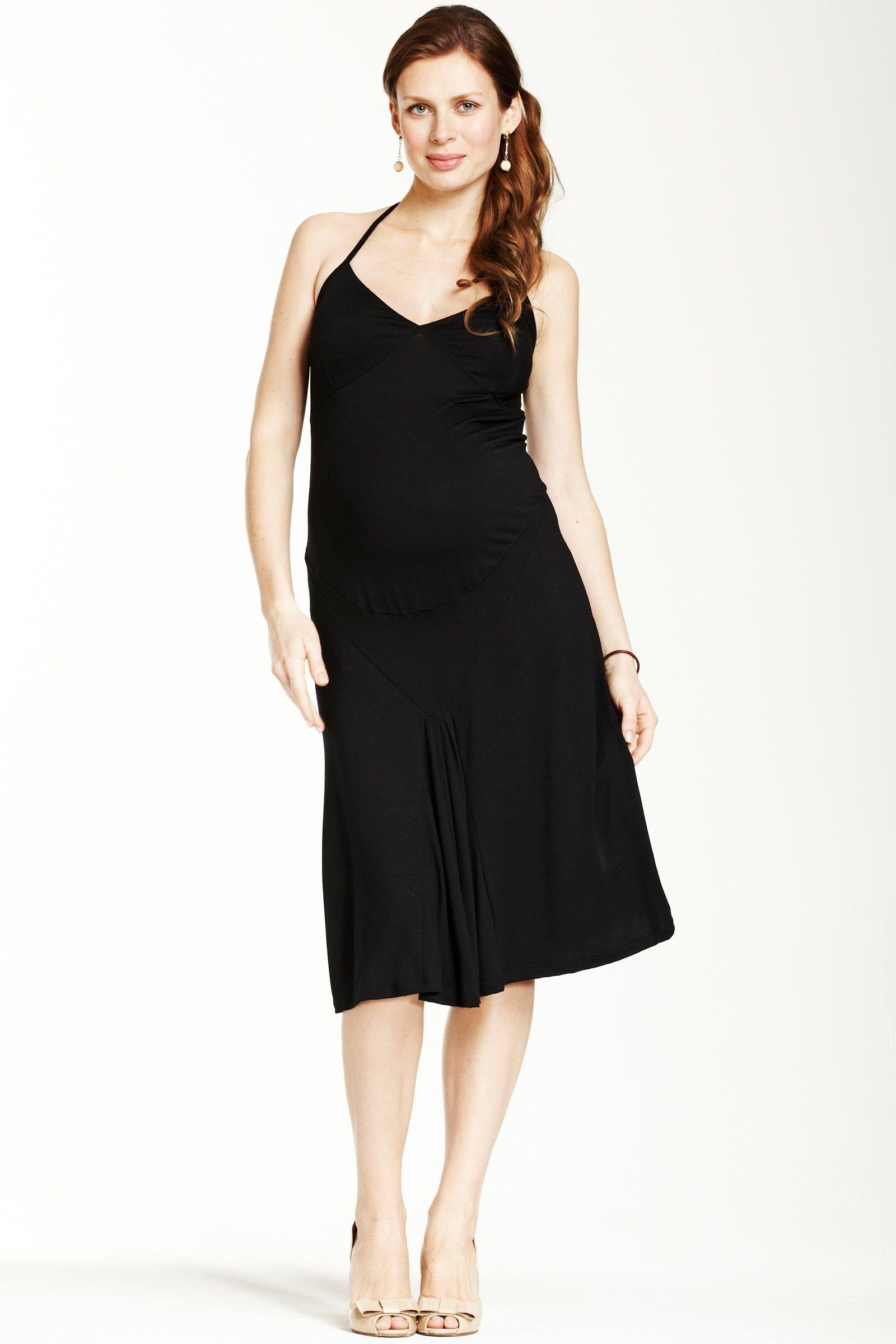EN SAINTE - Robe grossesse habillée dos nu noire Eva / Black dressy
