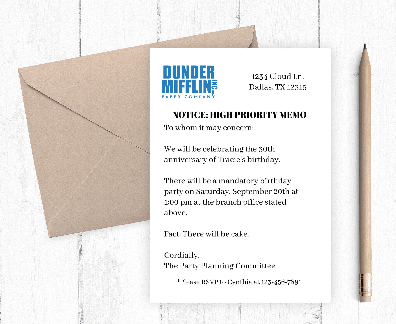 Dunder Mifflin Printable Invitation, The Office tv show Dunder