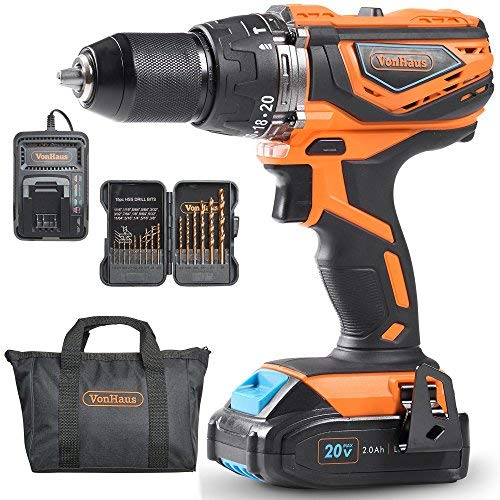 Vonhaus 20v Max 1 2 Cordless Drill Driver Set With Led Light And Hammer Function 2 Speed Max Torque 336 In Lbs 15pc Accessories 2 0 Cordless Drill Drill Driver Drill
