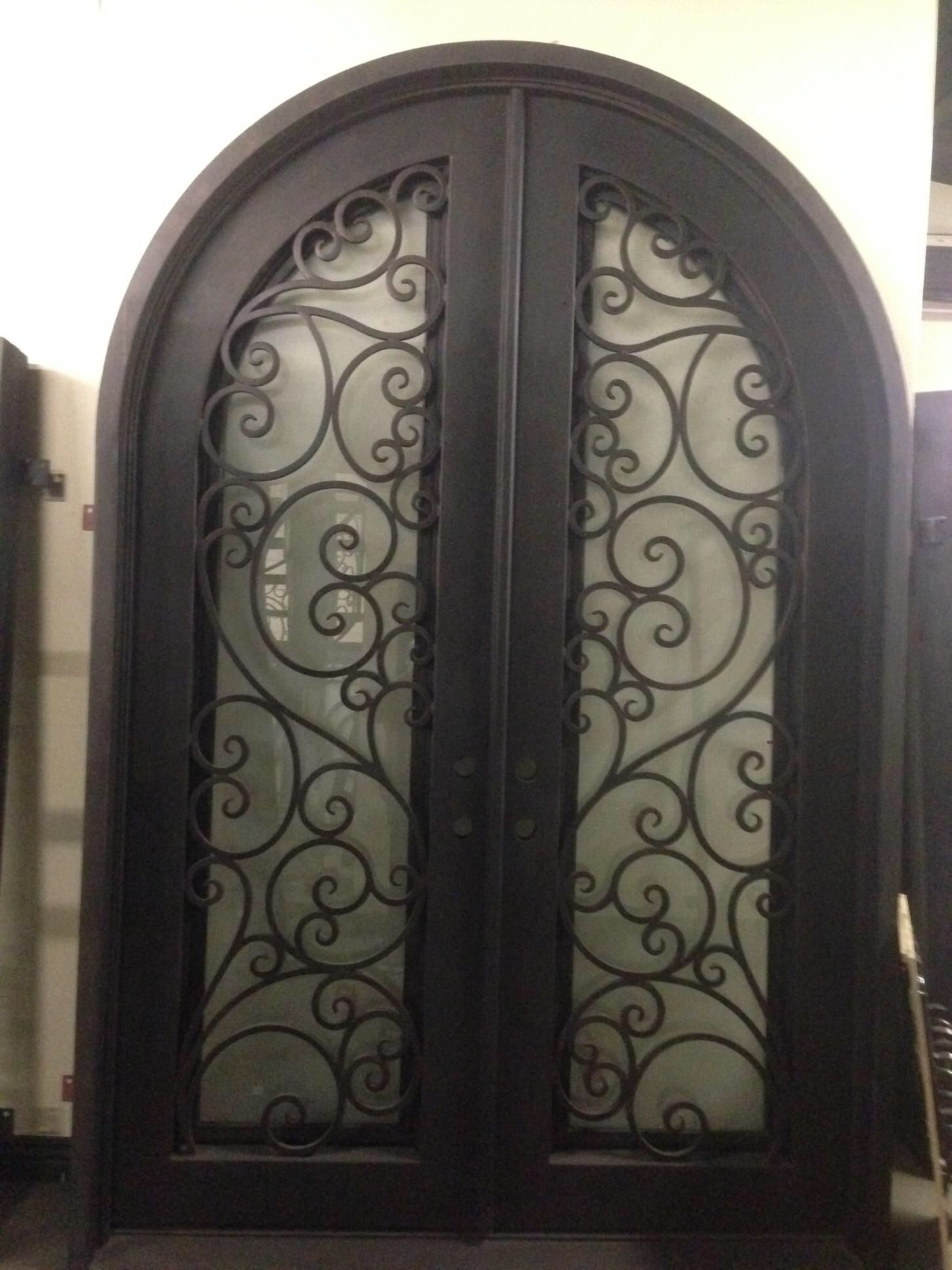 Wrought Iron 9 Ft Tall Double Arched Front Door