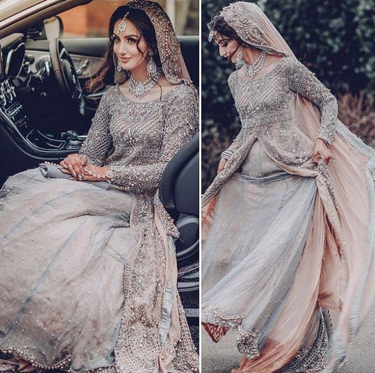 Beautiful Grey Bridal Dress Pakistani Wedding Dresses Desi