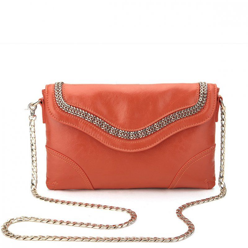 Nucelle Leather Chain Messenger Orange 1170208 33 55 00