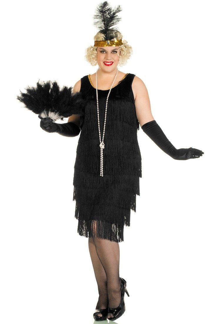 4a0247d05f5bf Plus size women's long fringed 1920's black flapper dress costume for those  who want to look amazing, but be a little bit modest!