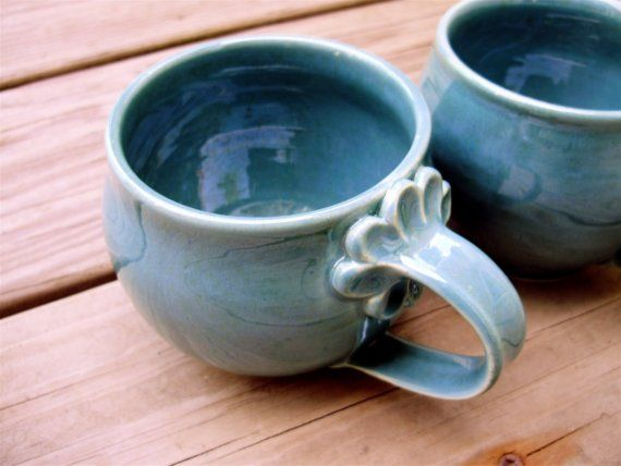 Mug With Flower Petal Handle Pottery Ceramics Clay Pottery Cups