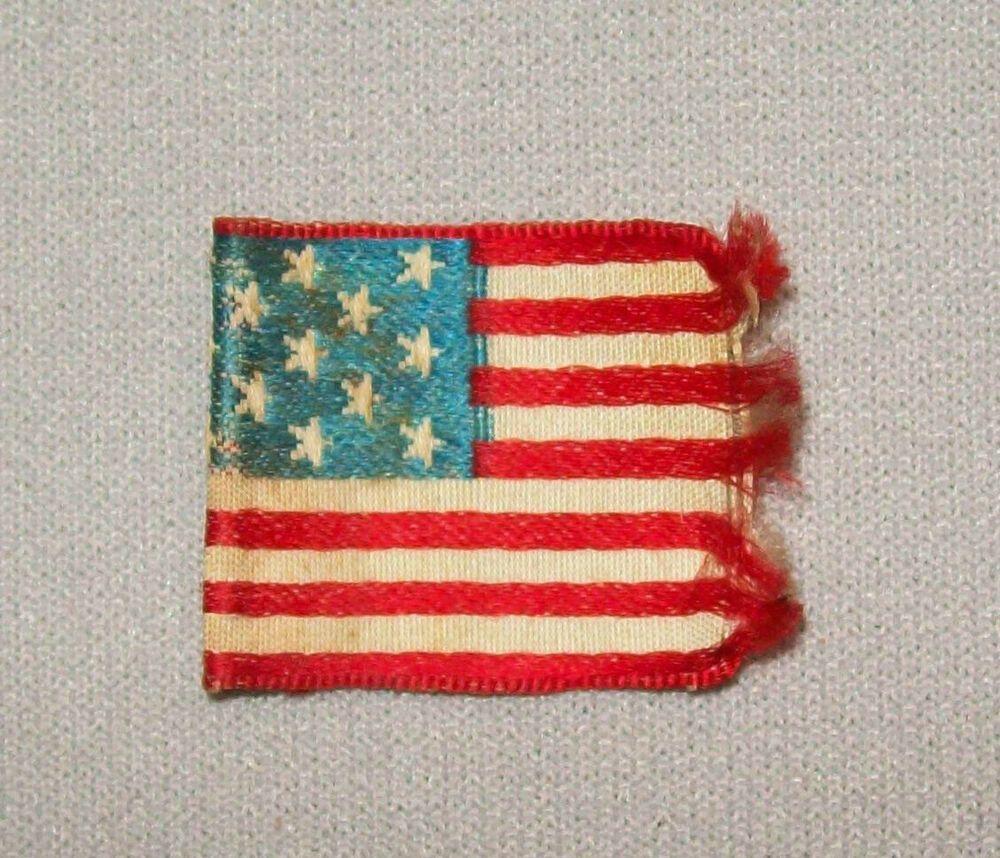 Old Antique Vtg 19th C 1870s Small 13 Star Flag Centennial